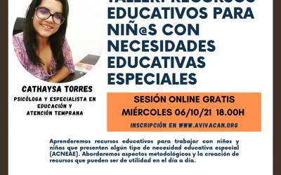 Nuevo Taller: Recursos Educativos para Niños y Niñas con Necesidades Educativas Especiales